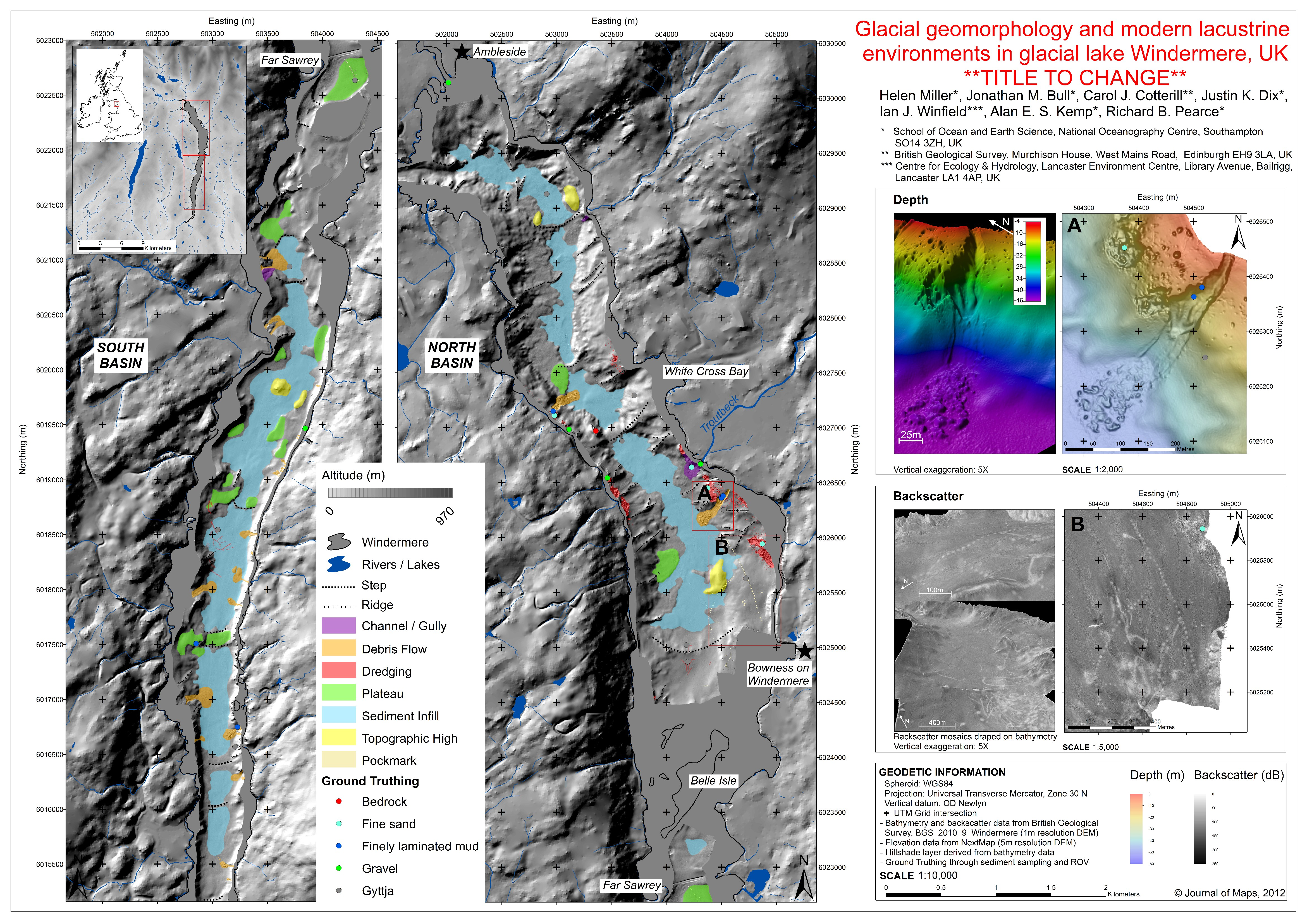 lake bed geomorphology and sedimentary processes in